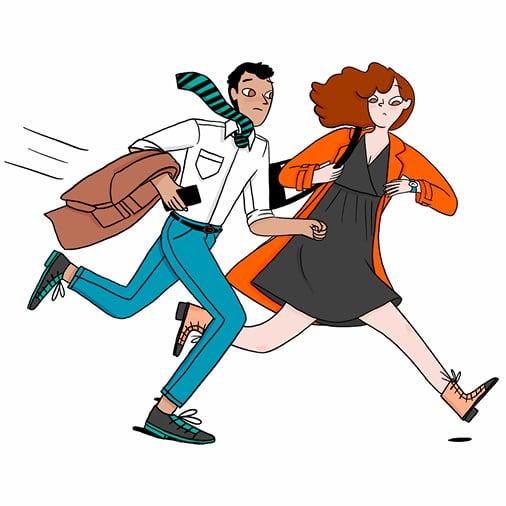 deux parents courent pour aller au travail