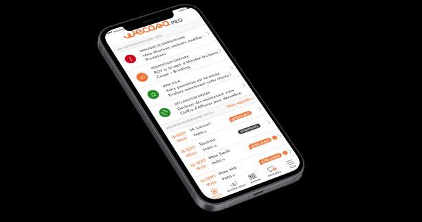 Smartphone avec l'app Wecasa