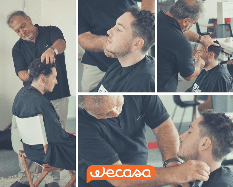 Un homme coupe ses dreads avec un coiffeur à domicile