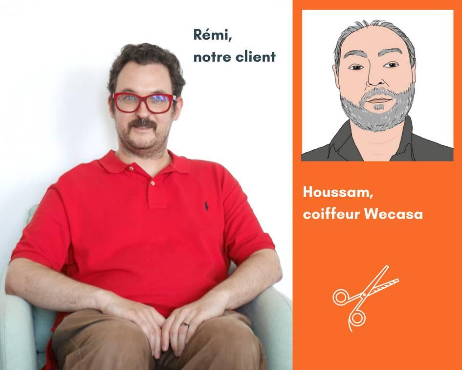 Un client Wecasa et son coiffeur privé