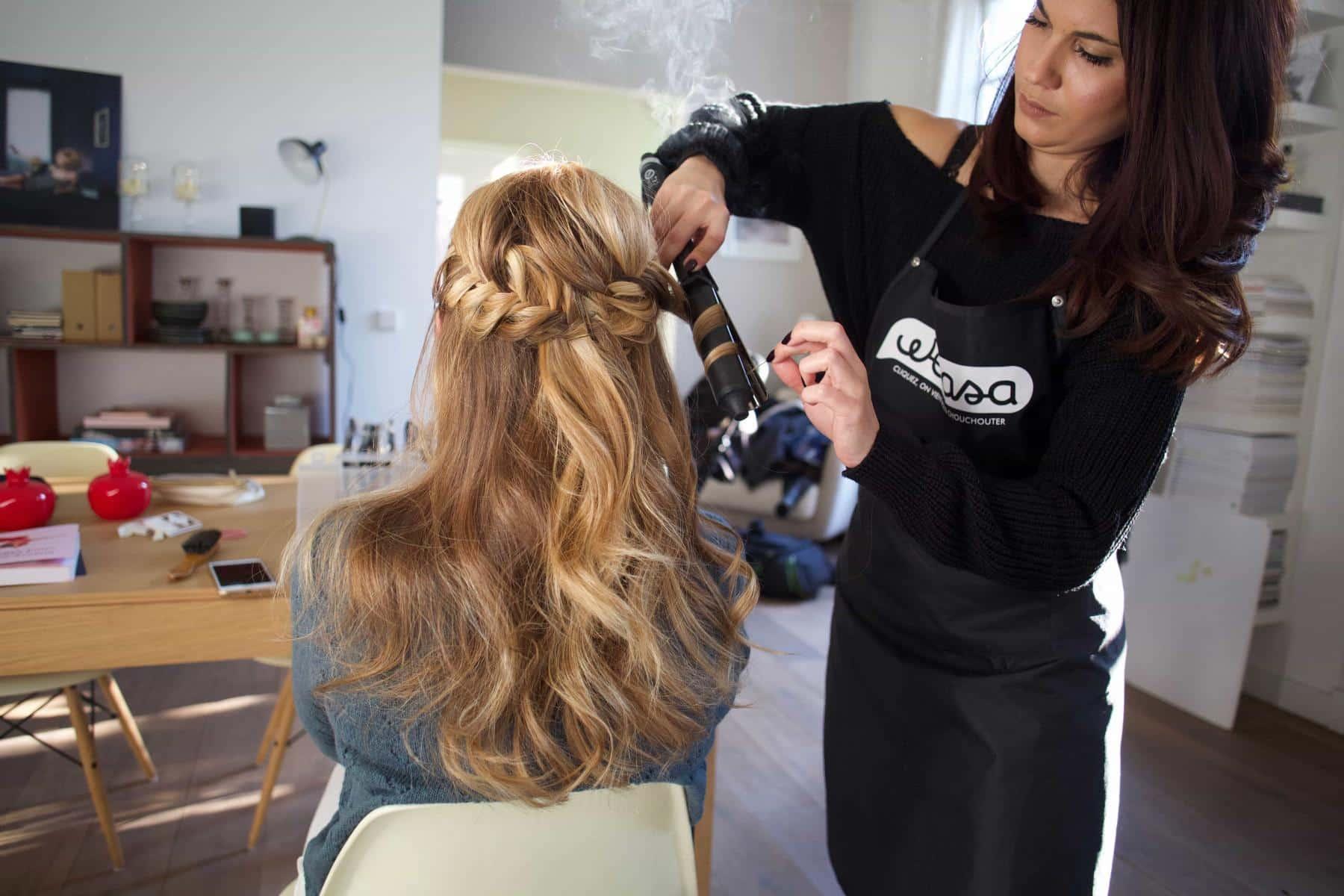 Réalisation tresse cheveux longs