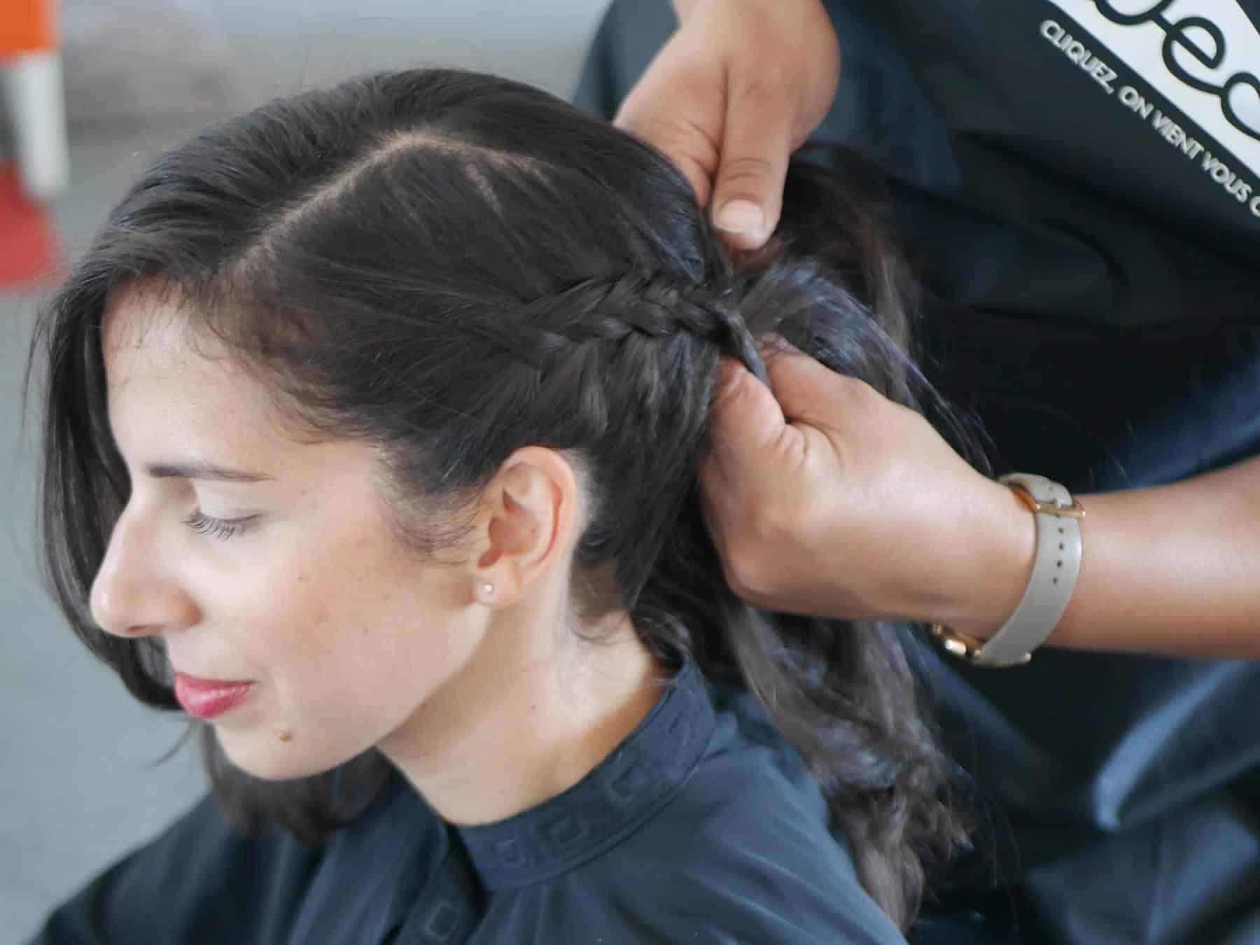 chignon tresse avec un coiffeur professionnel